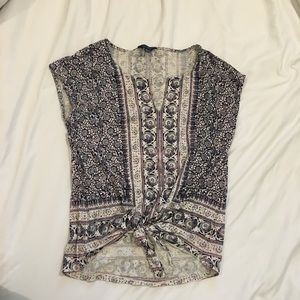 Lucky Brand knotted front sleeveless blouse